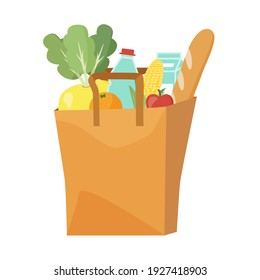Paper bag full of food water, milk, bread, apple, orange, corn. Grocery delivery concept. Editable vector illustration on white background. For web banners, web sites, printed materials, infographics