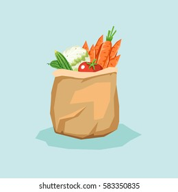Paper bag full of fresh vegetables. Package with healthy food. Vector colorful illustration