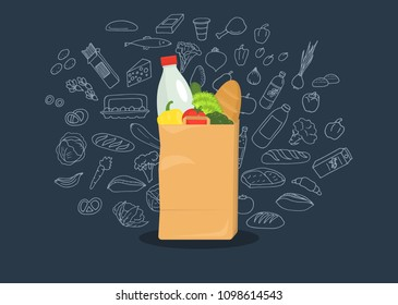 Paper bag full of groceries with sketches from groceries products on dark blue background. Healthy food. Grocery store. Vector illustration.