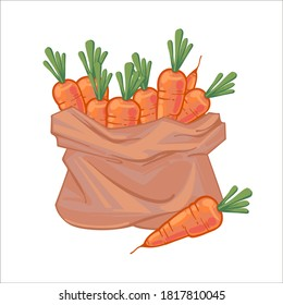 Paper bag full of juicy ripe orange carrots. Canvas bag with carrots. Organic vegetables. hand drawn vector illustration isolated on white background. Icons bags with vegetables.