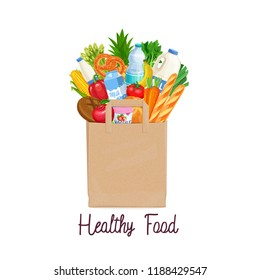Paper bag of groceries. Concept of healthy food with dairy products, bakery, vegetables and fruits. Vector illustration.