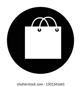 paper bag icon in black and isolated circle vector illustration