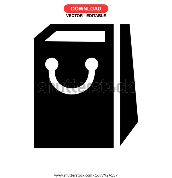 paper bag icon or logo isolated sign symbol vector illustration - high quality black style vector icons