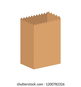 Paper bag isolated. Ecological packaging. Vector illustration