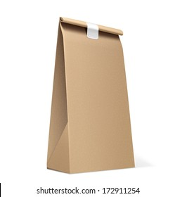 Paper Bag isolated on white. Vector Illustration