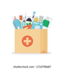 Paper bag with medicines, drugs, pills and bottles inside. Home delivery pharmacy service. Vector illustration in flat style on white background