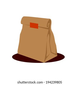 Paper Bag Package, Folded, Close, Brown. Ready For Your Design. Snack Product Packing Vector - No plastic policy