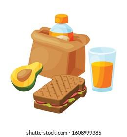 Paper Bag Package with Healthy Breakfast, Orange Juice, Avocado, Avocado, Sandwich Vector Illustration