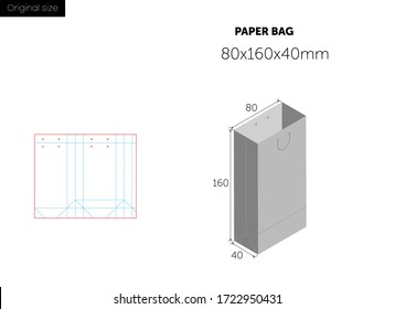 Paper bag packaging die-cut. Shopping Bag with Die Cut Layout template and sizes