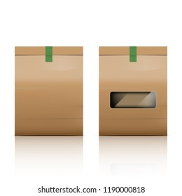 Paper bag packaging with reflect on white background, stock vector