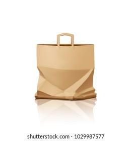 Paper bag, realistic vector.