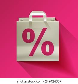 paper bag, sale, discount percent sign