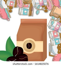 paper bag and seeds bakery products fresh beverage coffee time vector illustration
