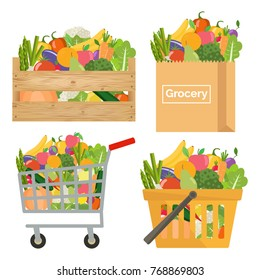 Paper bag, shopping cart and basket, wooden crate with vegetables and fruits.