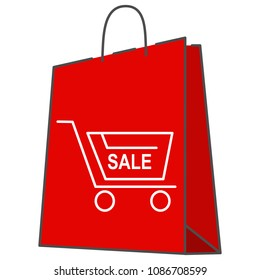Paper bag with shopping cart.Vector icon editable stoke