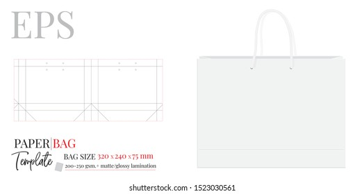Paper Bag Template, Vector with die cut / laser cut layers. Shopping Bag, 320 x 240 x 75, Packaging Design.  White, clear, blank, isolated Paper Bag mock up on white background