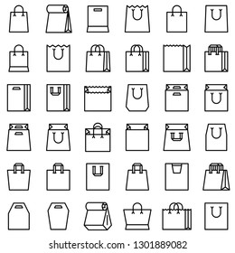 Paper bag vector icon set, line design