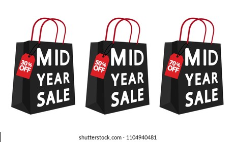 Paper bag vector. sale tag. mid year sale. price tag. free space for text. wallpaper.