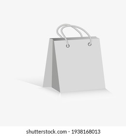 Paper bag.Empty Shopping Bag on white for advertising and branding.Flat drawing on white background. Vector illustration