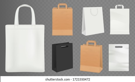 Paper bags. Realistic craft shopping bag, white and black packs vector illustration