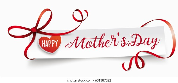Paper banner with ribbon, hearts and text Happy Mother's Day. Eps 10 vector file.