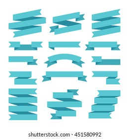 Paper banners ribbons in origami style. Set of banner ribbon templates for decoration and advertisement. Vector illustration
