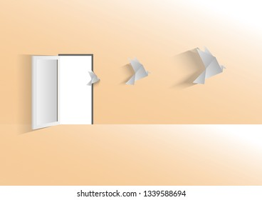 Paper birds and door open with freedom concept background