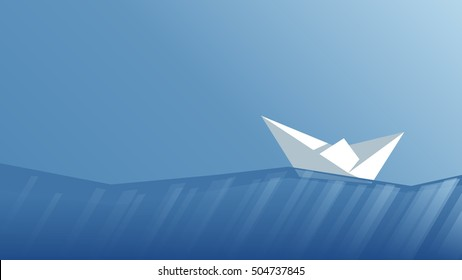 Paper boat floating on the waves, low poly paper boat sailing away on polygonal sea vector illustration