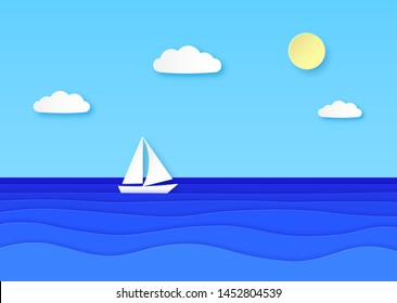 Paper boat floating sea. Cloudy sky with sun, sailboat with white sail in blue ocean waves. Summer vocation origami vector background with cloud and float marine yacht