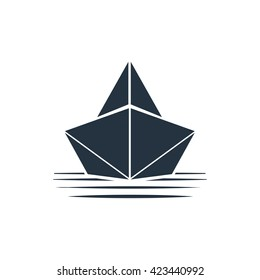 paper boat icon front