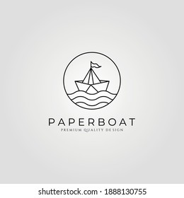 paper boat line art minimalist logo vector symbol illustration design