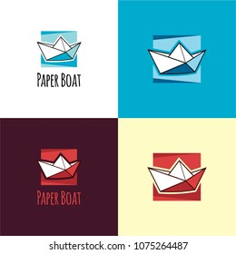 Paper Boat Logo and Icon. Vector Illustration. A logo featuring a paper boat and a background of an abstract sea and sky.