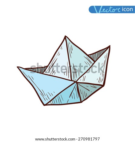 Paper Boat Origami Hand Drawn Illustration Stock Vector Royalty