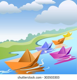 Paper boat in rainy water - Vector