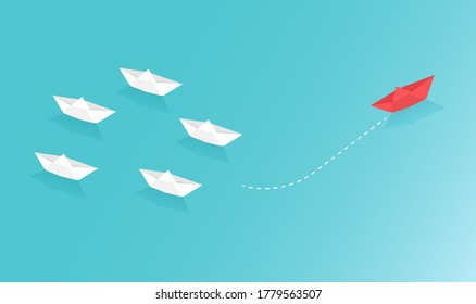Paper boat sailing on blue ocean design concept. Paper art style of business teamwork and one different vision creative concept idea. Vector illustration