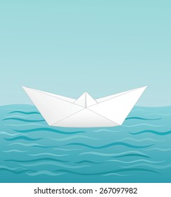 paper boat sailing on blue water, vector illustration