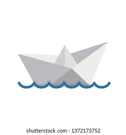 Paper boat sailing on water causing waves and ripples. Illustration design over a white background