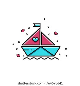 Paper boat with scarlet sails flat color line icon. Romantic illustration in outline design for Valentine's Day celebration, wedding and engagement events, online chat services. Love travel image.