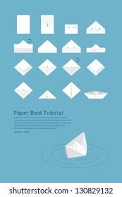 Paper boat tutorial, vector