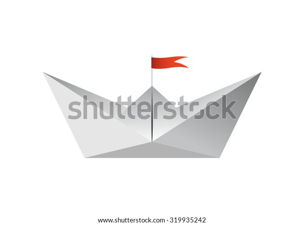 Paper boat in vector isolated on white background