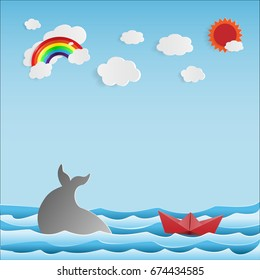 Paper Boat And Whale On Summer Background - Vector Illustration.