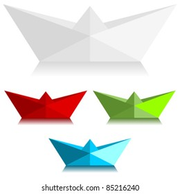 Paper boats over white background