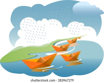Paper boats in rainy water - vector