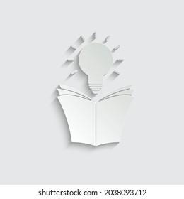 paper book with bulb icon. education symbol vector idea icon