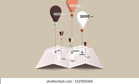 Paper Booklet With Worldmap And Colorful Balloons Over It. Flat Vector Illustration. Compare Concept.