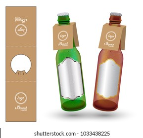 Paper Bottle Neck Hang Tag die-cut vector