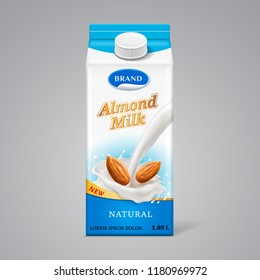 Paper box for almond milk with liquid splash and nuts. Dairy beverage branding at carton container with lid, realistic package template for vegan natural meal. Retail and healthy nutrition theme