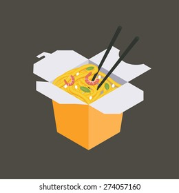 Paper box of Chinese noodles and chopsticks, WOK. Noodles with shrimp and sesame