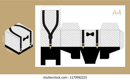 Paper box with suspenders and bow tie. Printable template for little man's birthday (father's day) party. Candy bar printing package, square packaging. It's favor gift ( sweet, chocolate, food, nuts)