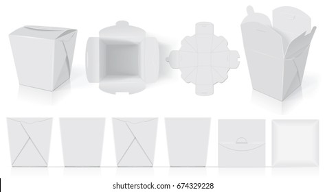 Paper box for your design and logo. It's easy to change colors. Take away template. Mock Up. Blank vector.